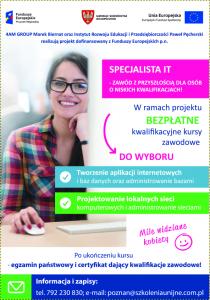 Plakat-Specjalista IT - Zawód z przyszłością dla osób o niskich kwalifikacjach